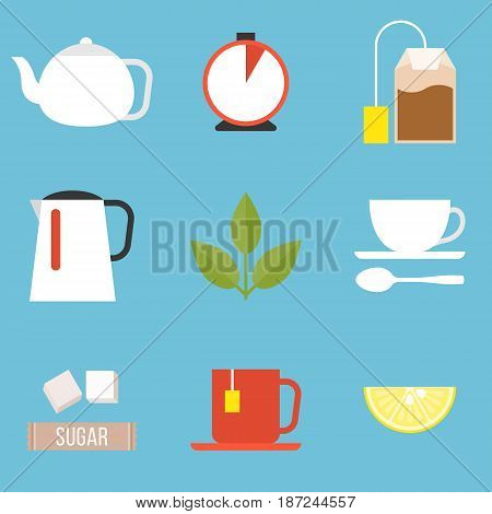 tea preparation icon set, flat design vector