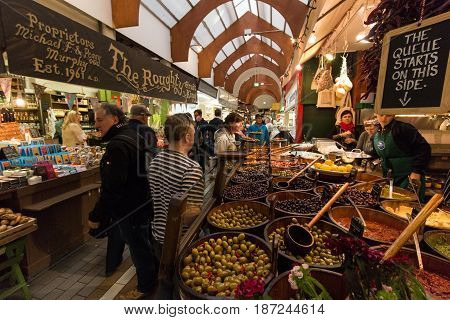 May 20th, 2017, Cork, Ireland - English Market, a municipal food market in the centre of Cork, famous tourist attraction of the city.