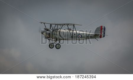 Biggleswade UK - 7th May 2017: Vintage biplane in flight