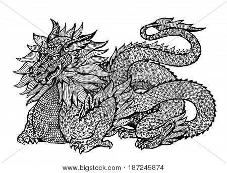dragon graphics anti-stress art therapy illustration mythology zentagl