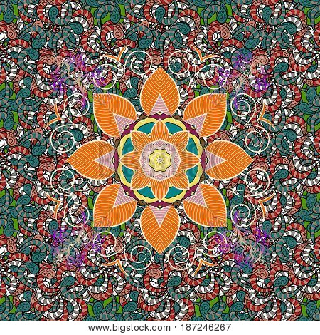Oriental colored pattern on white background. Vintage decorative elements. Islam Arabic Indian turkish pakistan chinese ottoman motifs. Abstract Mandala. Vector illustration.