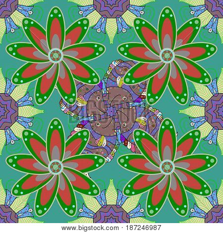 Decorative colored round ornament. Colorful mandala. Anti-stress mandala. Oriental flourish vector. Indian flower mandala. Yoga logo background for meditation poster.