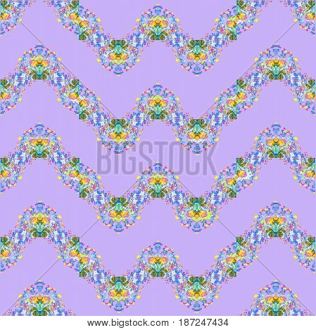 Abstract geometric seamless background. Regular zigzag pattern purple, with blue, green and orange elements.