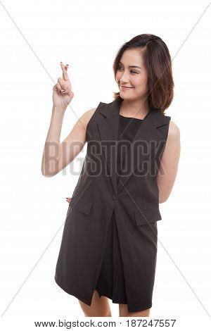 Beautiful Young Asian Woman Cross Finger.
