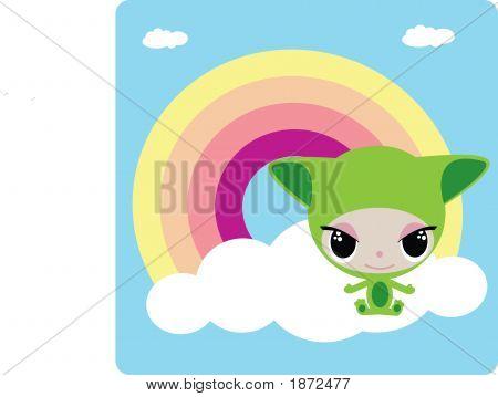 Green Cartoon Animal On The White Cloude And Rainbow