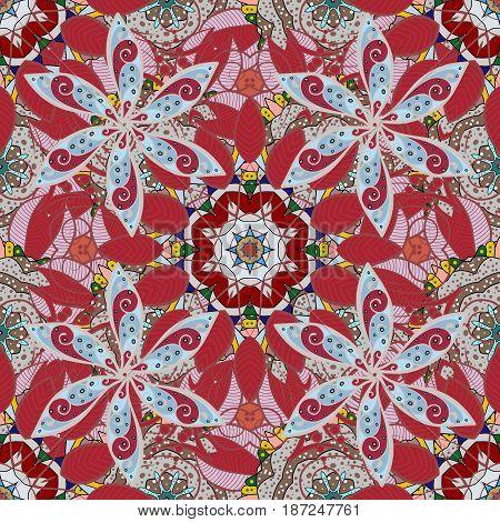 Mandala pattern. Ethnic texture. Arabic Vintage decorative ornament. Vector Mandala colored on a white background. Orient symmetry lace meditation symbol. East Islam Thai Indian ottoman motifs.