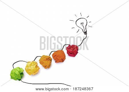 Concept idea with colorful paper and graphic of light bulb isolate on white background