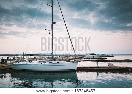 Sailing boat staying in harbor of Odessa