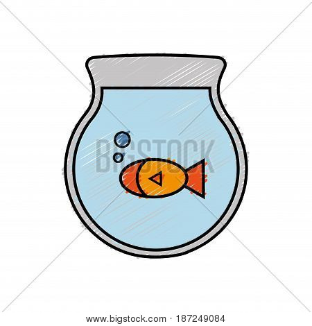 fishbowl icon over white background. colorful design. vector illustration