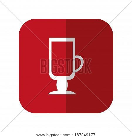 coffee drink icon over red square and white background. vector illustration