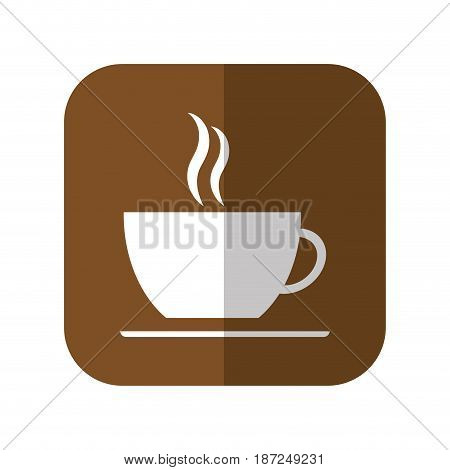 hot coffee mug icon over brown square and  white background. vector illustration