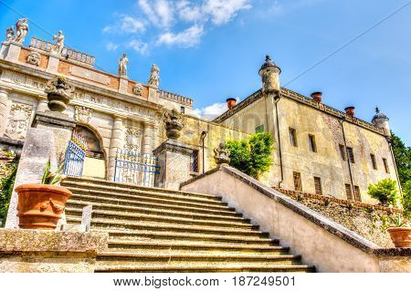 Padova Italy April 23 2017 - external staircase of the Catajo castle in the Euganean hills area