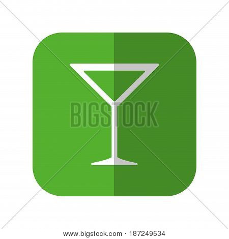 cocktail drink icon over green square and white background. vector illustration