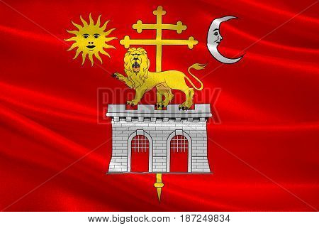Flag of Albi is a commune in Tarn of Occitanie is a Region of southern France. 3d illustration
