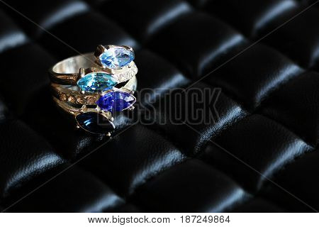 Jewelry Silver Ring With Blue Sapphires