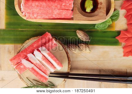 Crab stick with wasabi sauce is delicious