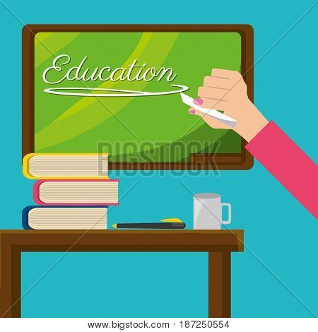 teacher with class board and study tools, vector illustration