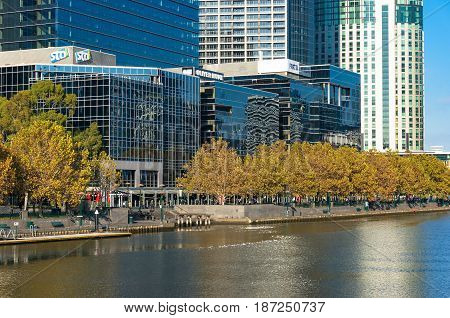 Melbourne Southbank Cityscape And Yarra River On Autumn Day