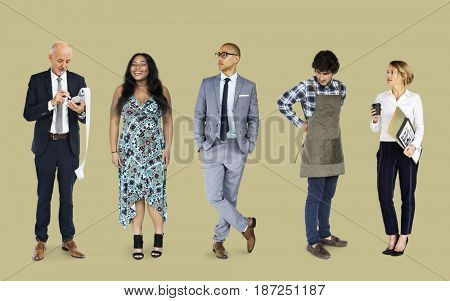 Small business owner entrepreneur standing in a row