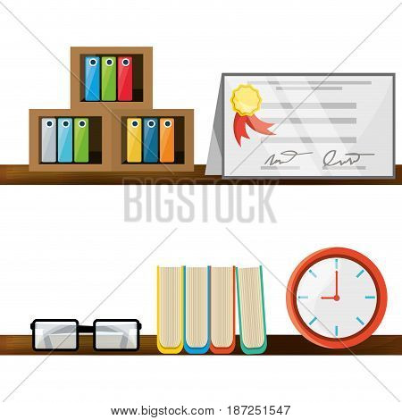 nice office with desk and bookcase, vector illustration design