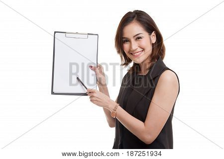 Happy Asian Business Woman Point To Clipboard With Pen.