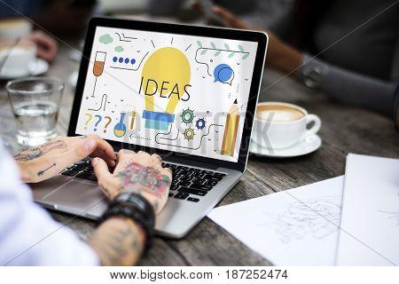 Illustration of creativity ideas light bulb on laptop