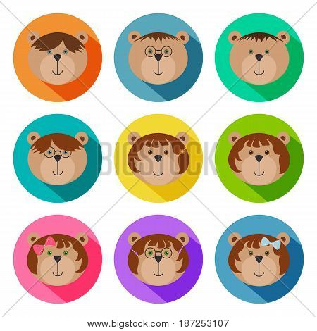 Set of teddy bears classmates flat icons. Drop shadow effect. Colorful avatar set of funny girls and boys. Vector illustration for stickers. Children bears with glasses ribbons pins and spectacles