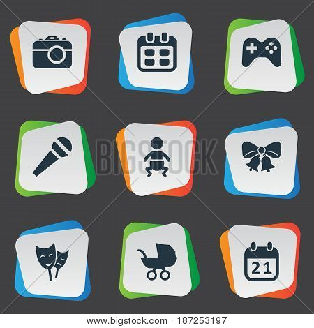 Vector Illustration Set Of Simple Celebration Icons. Elements Days, Mask, Infant And Other Synonyms Camera, Stroller And Play.