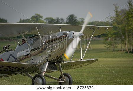 Biggleswade UK - 7th May 2017: A vintage British Hawker Demon taxiing