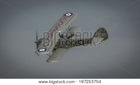 Biggleswade UK - 7th May 2017: A vintage British Hawker Demon in flight