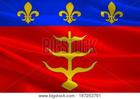 Flag of Montauban is a commune in the Tarn-et-Garonne department in the Occitanie region in southern France. 3d illustration