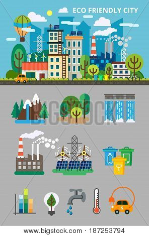 Big ecology set for info graphis. Landscape with ecology concept. Ecofriendly city with buildings, transport and nature ecology elements in flat style. Vector illustration for brochures and websites