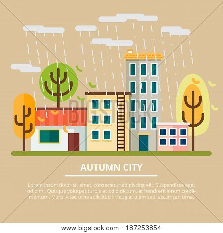 Vector illustration. Autumn landscape in a cloudy day. City with yellow trees and rain. Leaf fall.