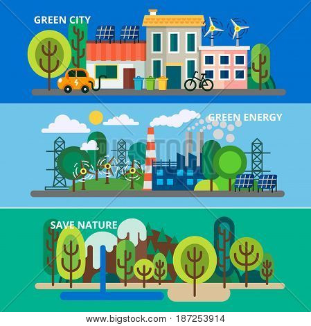 Three horizontal banners of flat design. Ecological template of flyear, magazines, posters, book cover. Concept of ecology problem, generation and saving green energy for graphic and web design