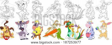 Cartoon animal set. Collection of domestic farm fauna. Basset hound dog goat sheep (lamb) bunny (rabbit) carrot (rooster bantam) cow hare taking selfie photo. Coloring book pages for kids