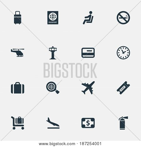 Vector Illustration Set Of Simple Airport Icons. Elements Travel Bag, Credit Card, Plane And Other Synonyms Plastic, Dollar And Passport.
