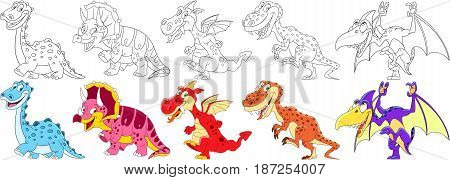 Cartoon animal set. Collection of dinosaurs in jurassic period. Diplodocus triceratops dragon tyrannosaurus (t rex) pterodactyl. Coloring book pages for kids.
