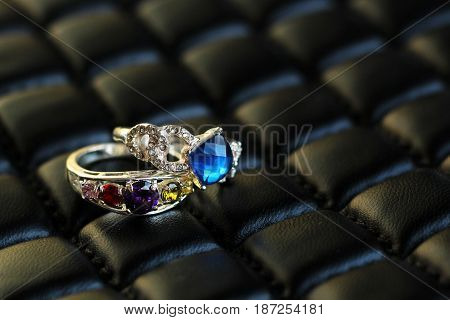 Beautiful Rings On Leather Material, Stylish And Fashionable