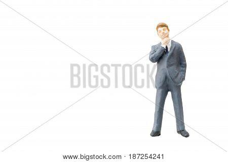 Miniature People Businessman On White Background