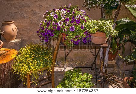 Home exterior decorations with vase of flowers