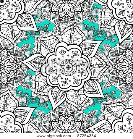 Seamless pattern on blue background with white elements. Seamless classic vector white pattern. Traditional orient ornament. Vector illustration. Classic vintage background.