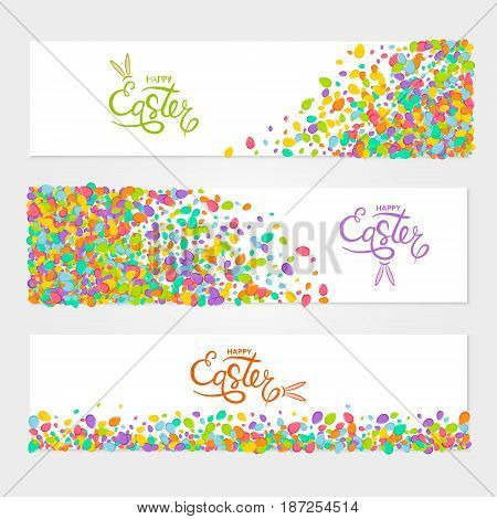 Vector horizontal banners set of scattered colorful eggs for Easter design.