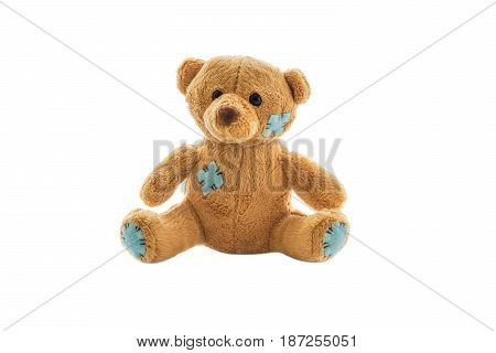 Soft toy bear with brown patches on white background