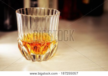 Crystal Glass With A Dose Of Pure Whiskey, No Ice