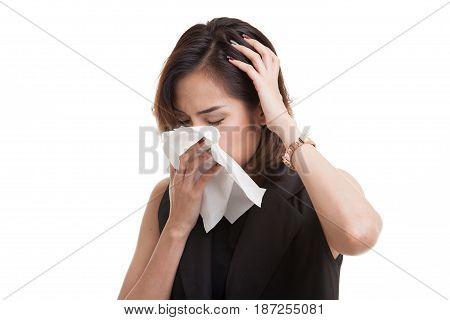 Young Asian Woman Got Sick And Flu.