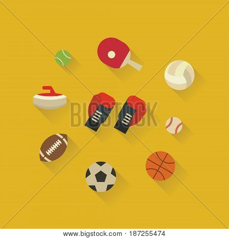 Vector illustration icon set of sport equipment: tennis, kerning, boxing, rugby, football basketball and baseball