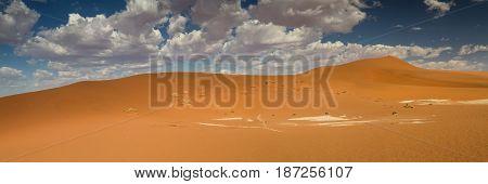 Panorama of the Sossusvlei dune field Nambia Africa