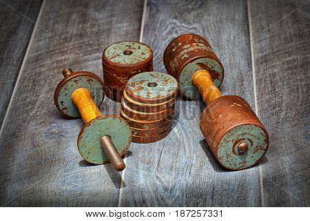 gym, retro dumbbell. collapsible sports dumbbell. Old items