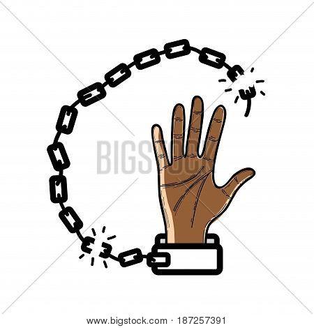 nice hand with metallic chain broken, vector illustration