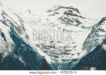 Snowy Mountains moody Landscape Travel aerial view serene scenery wild nature calm summer atmospheric scene